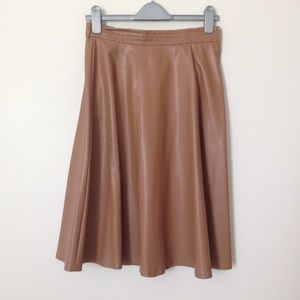 EUC Tan Faux Leather A-line Skirt